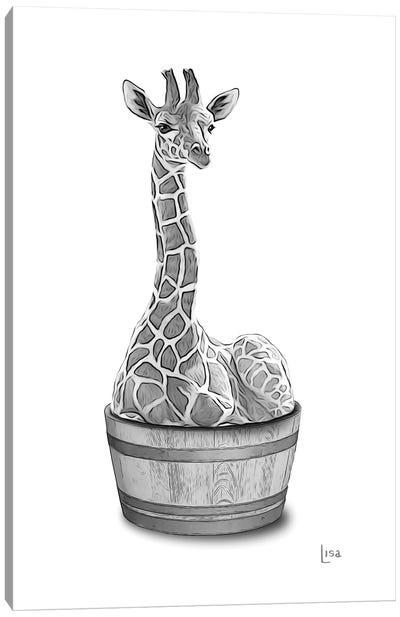 Giraffe In The Tub Bw Canvas Art Print