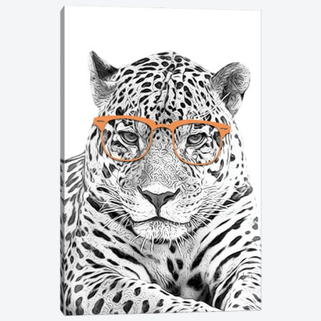Leopard With Orange Glasses Canvas Print #LIP7} by Printable Lisa's Pets Canvas Wall Art