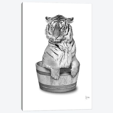 Tiger In The Tub Bw Canvas Print #LIP82} by Printable Lisa's Pets Canvas Artwork