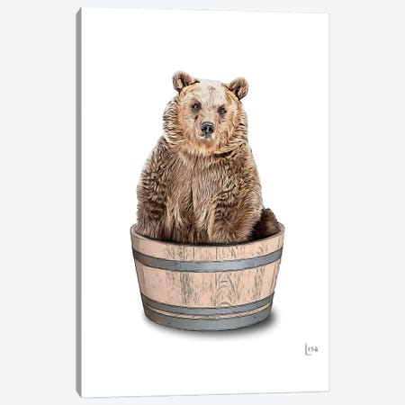 Bear In The Tub Color Canvas Print #LIP83} by Printable Lisa's Pets Canvas Wall Art