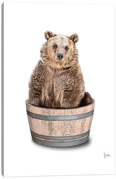 Bear In The Tub Color Canvas Art Print