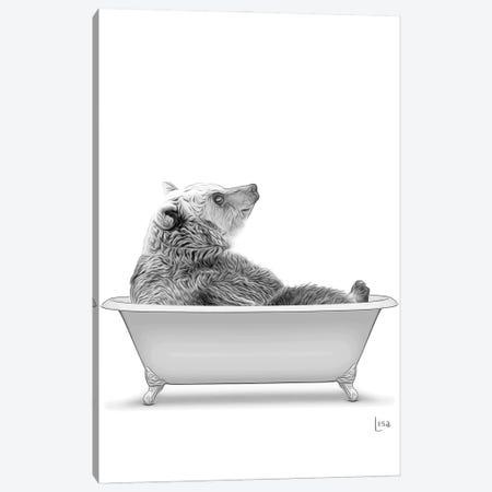 Bear In The Bath Bw Canvas Print #LIP87} by Printable Lisa's Pets Art Print