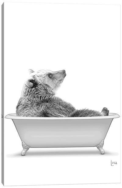 Bear In The Bath Bw Canvas Art Print