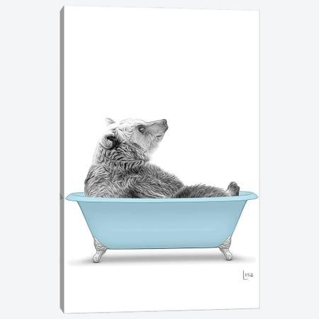 Bear In The Blue Bath Canvas Print #LIP88} by Printable Lisa's Pets Canvas Artwork