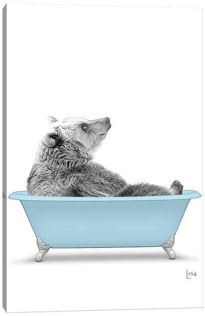 Bear In The Blue Bath Canvas Art Print