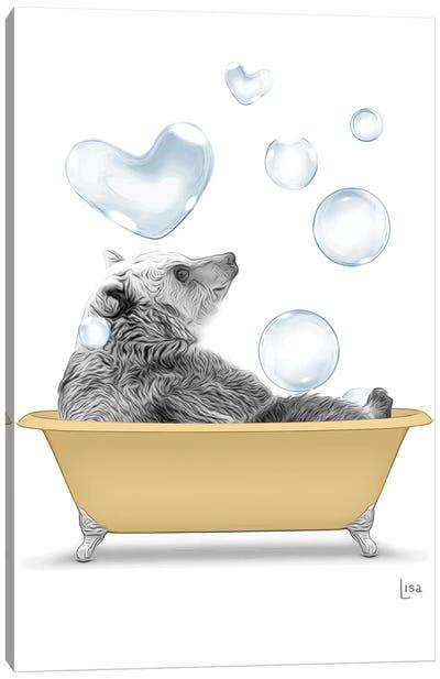 Bear In The Gold Bath Canvas Art Print