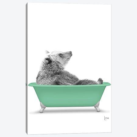 Bear In The Green Bath Canvas Print #LIP90} by Printable Lisa's Pets Canvas Print