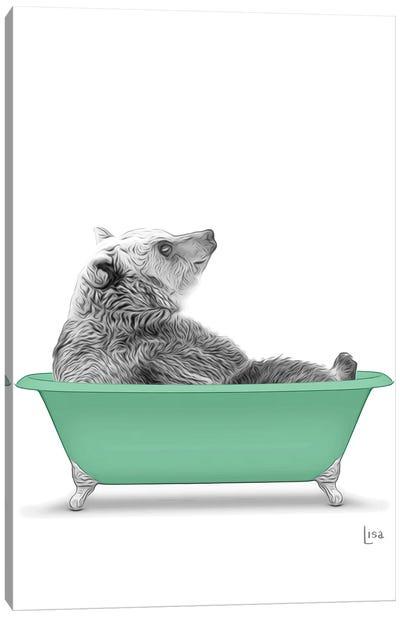 Bear In The Green Bath Canvas Art Print