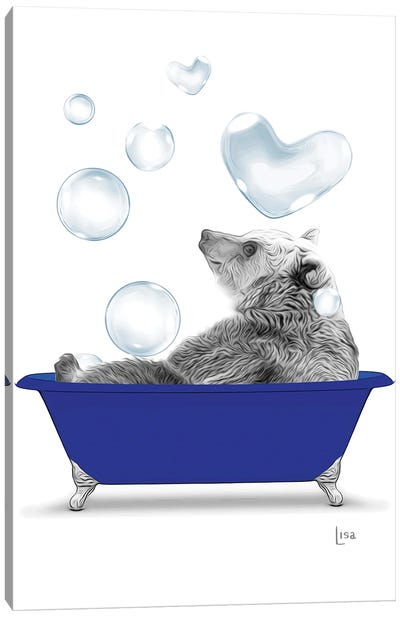 Bear In The Blue Bath With Bubbles Canvas Art Print