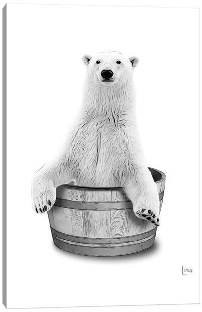 Bear In The Tub Bw Canvas Art Print
