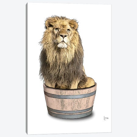 Lion In The Tub Color Canvas Print #LIP93} by Printable Lisa's Pets Canvas Print