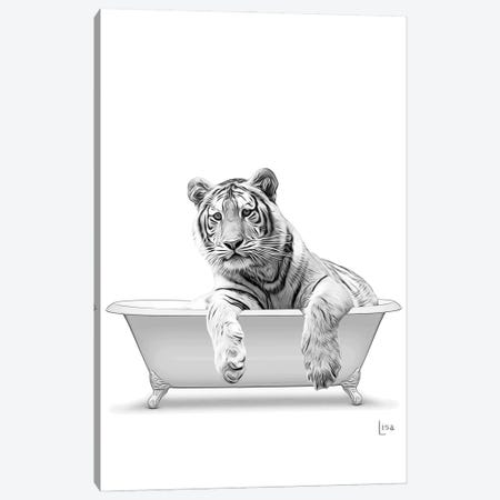 Tiger In The Bath Bw Canvas Print #LIP94} by Printable Lisa's Pets Canvas Artwork