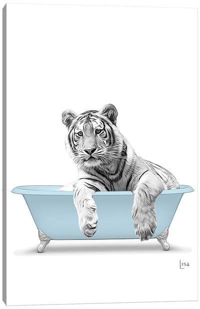 Tiger In The Blue Bath Canvas Art Print