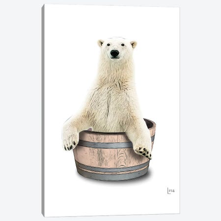 Color Bear In The Tub Canvas Print #LIP96} by Printable Lisa's Pets Canvas Art