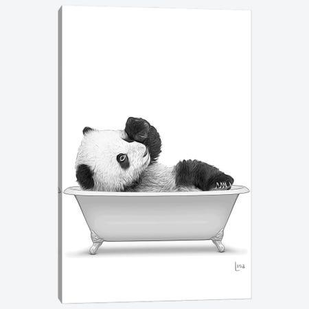 Panda In The Bath Bw Canvas Print #LIP98} by Printable Lisa's Pets Canvas Print
