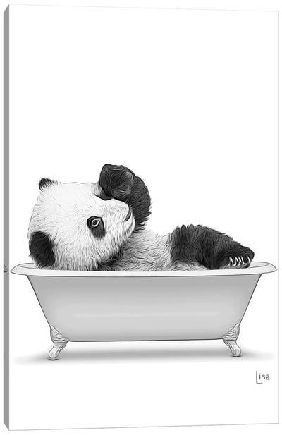 Panda In The Bath Bw Canvas Art Print