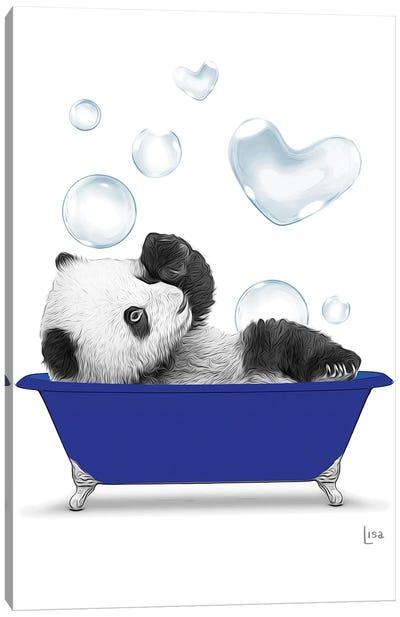 Panda In The Blue Bath Canvas Art Print