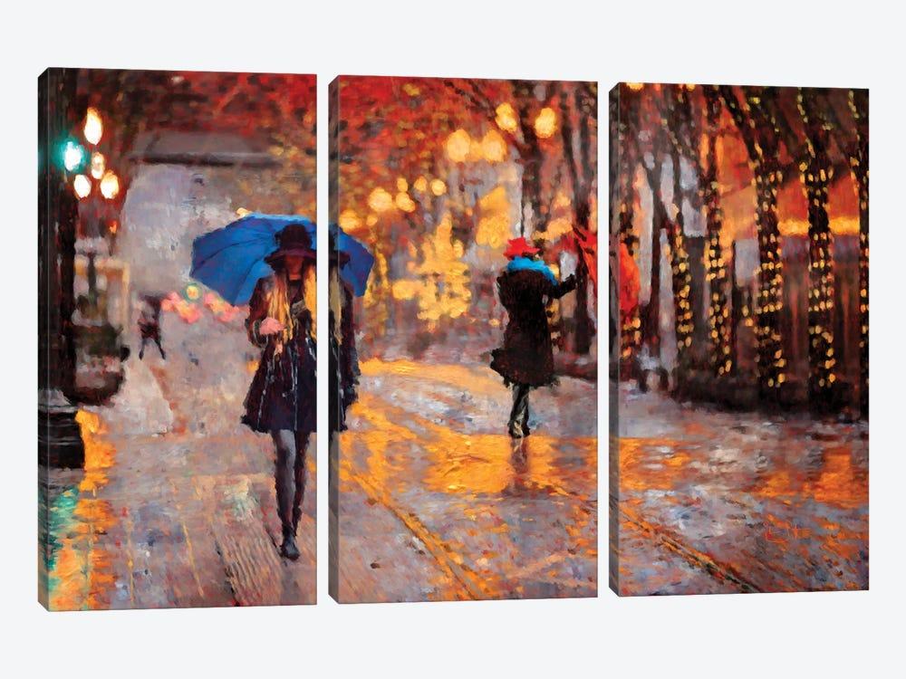 Rain Walk by Lisa Robinson 3-piece Canvas Wall Art