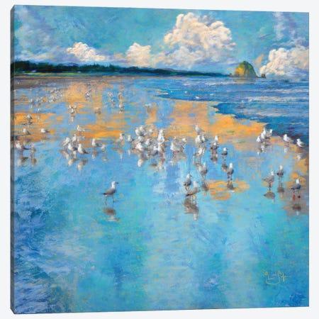 Seagulls by the Sea Canvas Print #LIR55} by Lisa Robinson Canvas Artwork