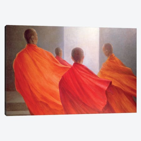 Four Monks On Temple Steps Canvas Print #LIS13} by Lincoln Seligman Canvas Wall Art