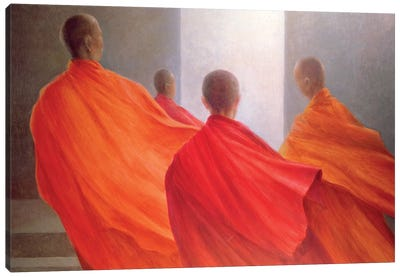 Four Monks On Temple Steps Canvas Art Print