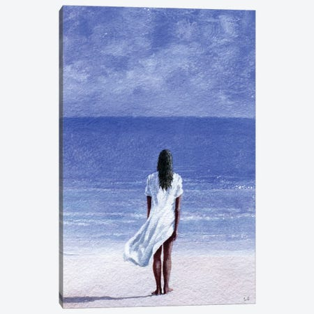 Girl On Beach Canvas Print #LIS14} by Lincoln Seligman Canvas Art Print