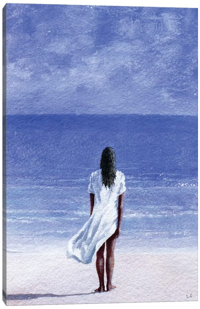 Girl On Beach Canvas Art Print