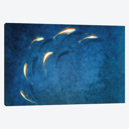 Goldfish Pool 3-Piece Canvas #LIS15} by Lincoln Seligman Art Print