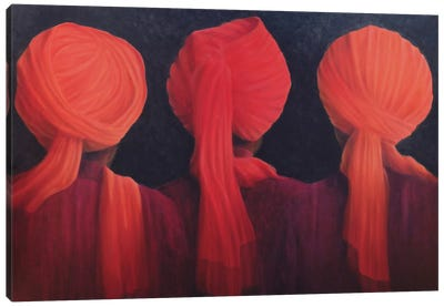 Turban Triptych Canvas Art Print