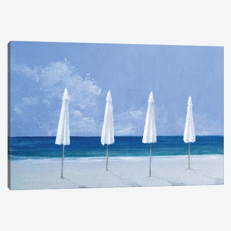Beach Umbrellas Canvas Print #LIS3} by Lincoln Seligman Canvas Wall Art