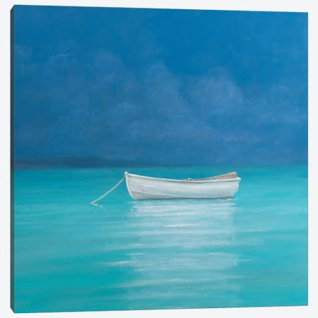 White boat, Kilifi 2012  3-Piece Canvas #LIS41} by Lincoln Seligman Canvas Print