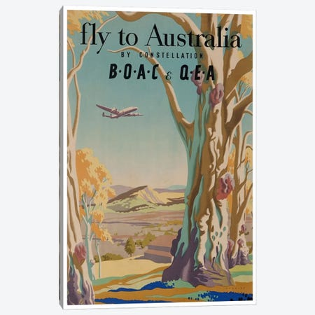 Fly To Australia By Constellation - BOAC & QEA Canvas Print #LIV100} by Unknown Artist Canvas Print