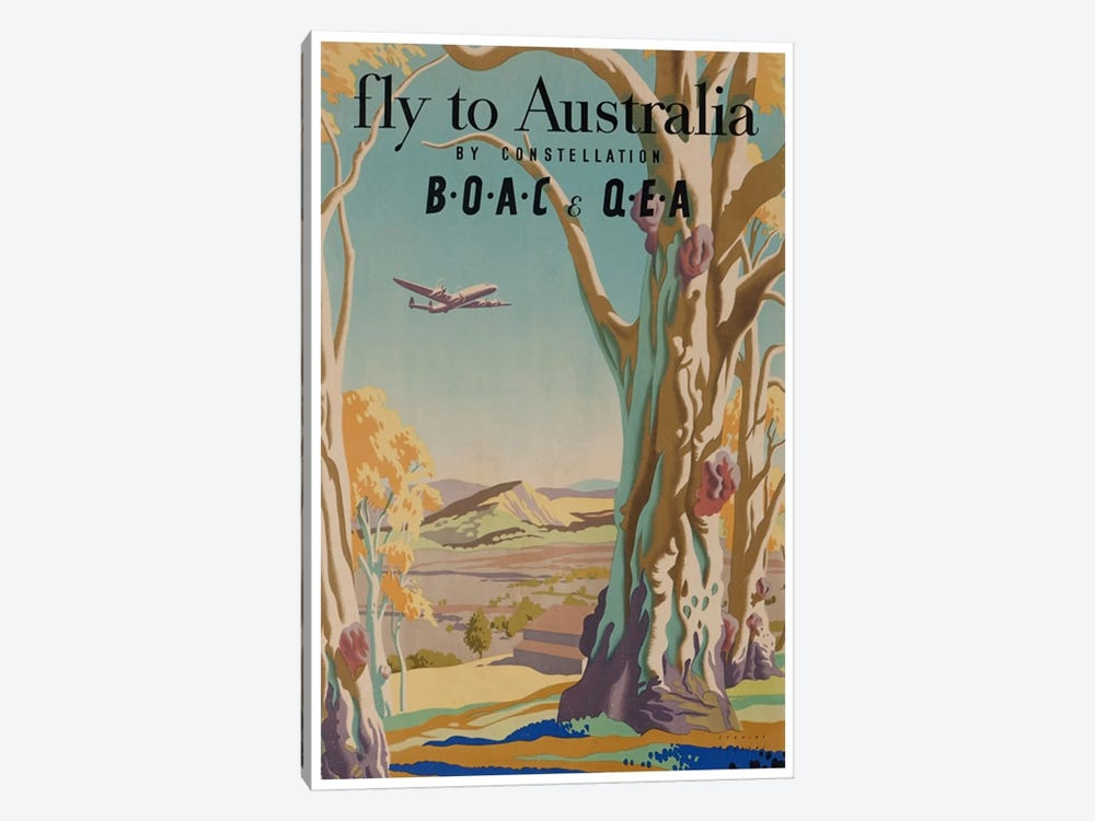 Fly To Australia By Constellation - BOAC & QEA 1-piece Canvas Art