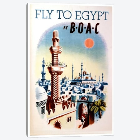Fly To Egypt By BOAC Canvas Print #LIV101} Art Print