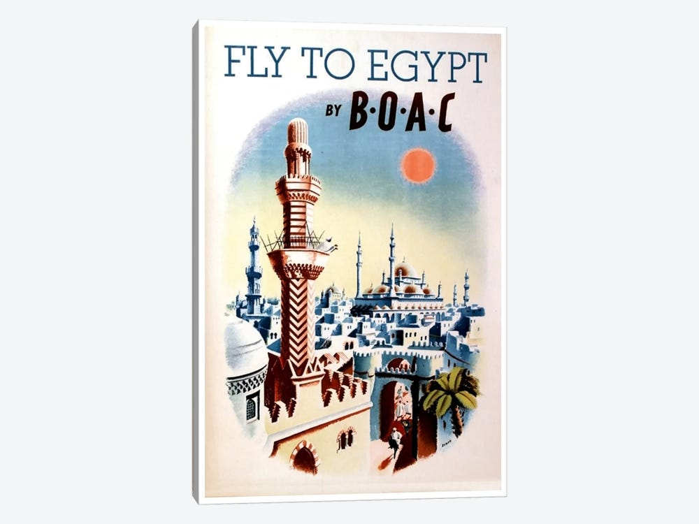 Fly To Egypt By BOAC by Unknown Artist 1-piece Canvas Art Print