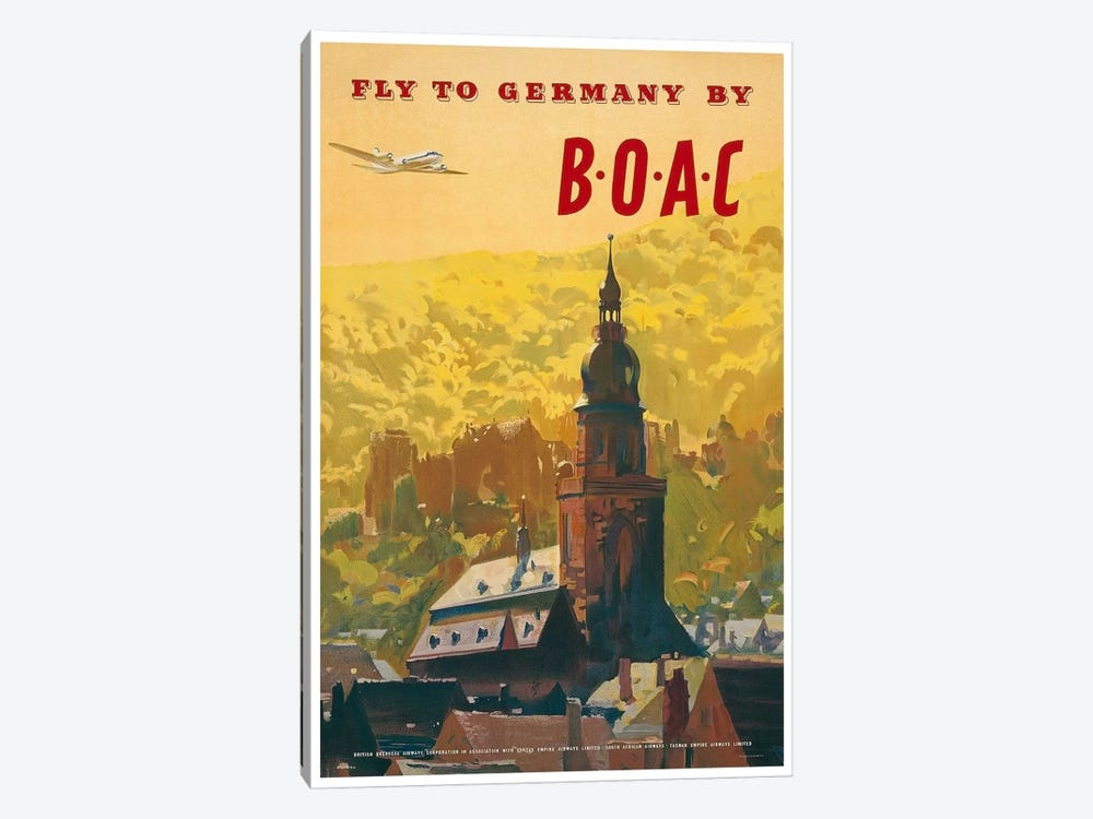 Fly To Germany By BOAC by Unknown Artist 1-piece Canvas Artwork