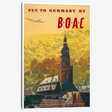 Fly To Germany By BOAC Canvas Print #LIV102} by Unknown Artist Canvas Print