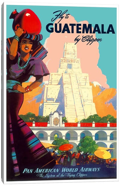 Fly To Guatemala By Clipper - Pan American World Airways Canvas Print #LIV103