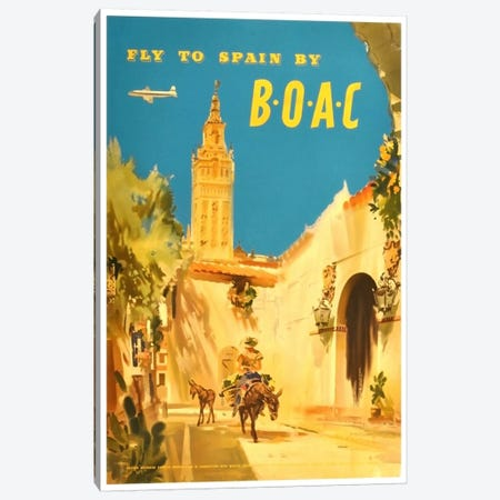 Fly To Spain By BOAC Canvas Print #LIV104} by Unknown Artist Canvas Art