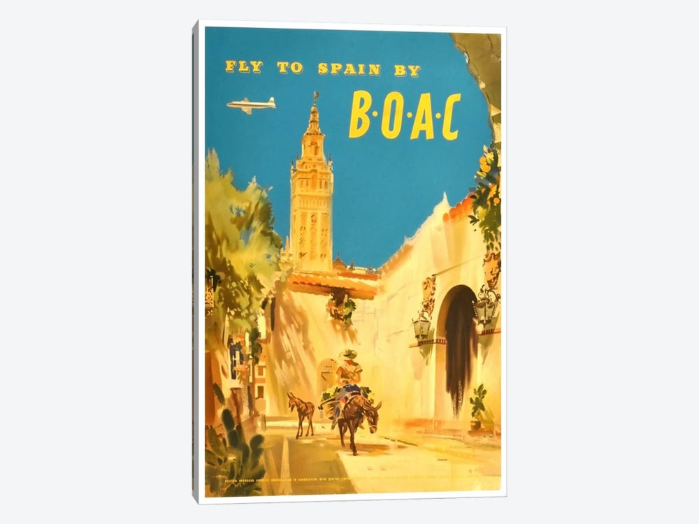 Fly To Spain By BOAC 1-piece Canvas Art