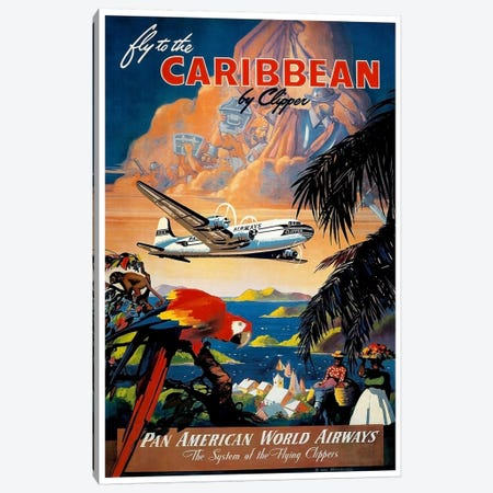 Fly To The Caribbean Canvas Print #LIV105} by Unknown Artist Canvas Art