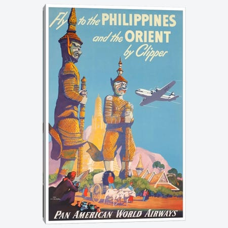 Fly To The Philippines And The Orient By Clipper - Pan American Canvas Print #LIV106} Canvas Wall Art