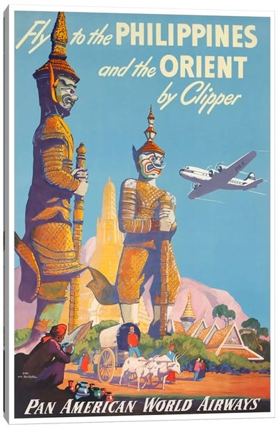 Fly To The Philippines And The Orient By Clipper - Pan American Canvas Art Print