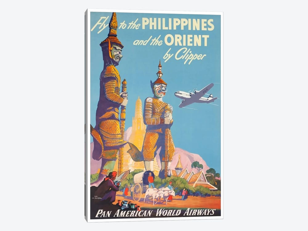 Fly To The Philippines And The Orient By Clipper - Pan American by Unknown Artist 1-piece Canvas Artwork