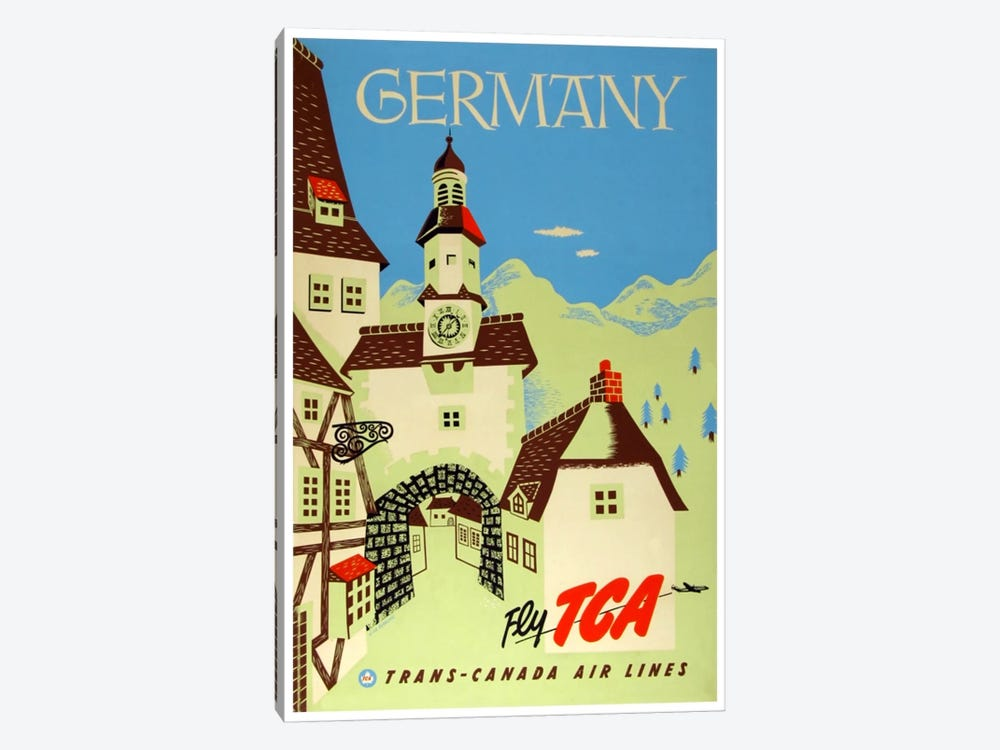 Germany - Fly TCA, Trans-Canada Air Lines by Unknown Artist 1-piece Canvas Art Print
