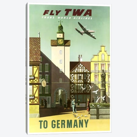 Germany - Fly TWA Canvas Print #LIV111} by Unknown Artist Canvas Art
