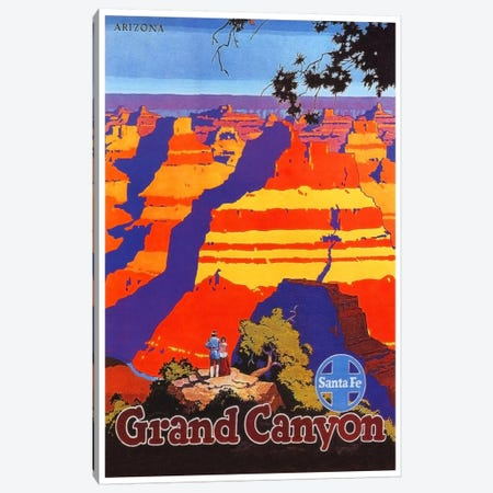 Grand Canyon, Arizona - Santa Fe Railway Canvas Print #LIV113} by Unknown Artist Canvas Wall Art