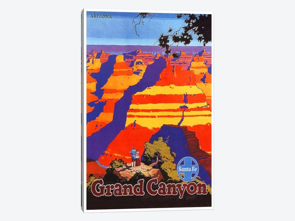 Grand Canyon, Arizona - Santa Fe Railway by Unknown Artist 1-piece Canvas Wall Art