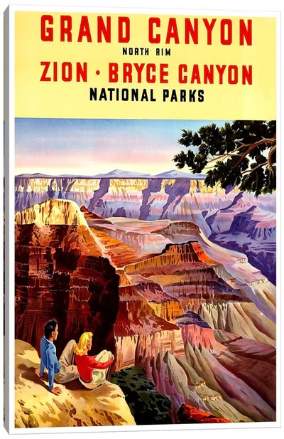 Grand Canyon, Zion, And Bryce Canyon National Parks Canvas Art Print