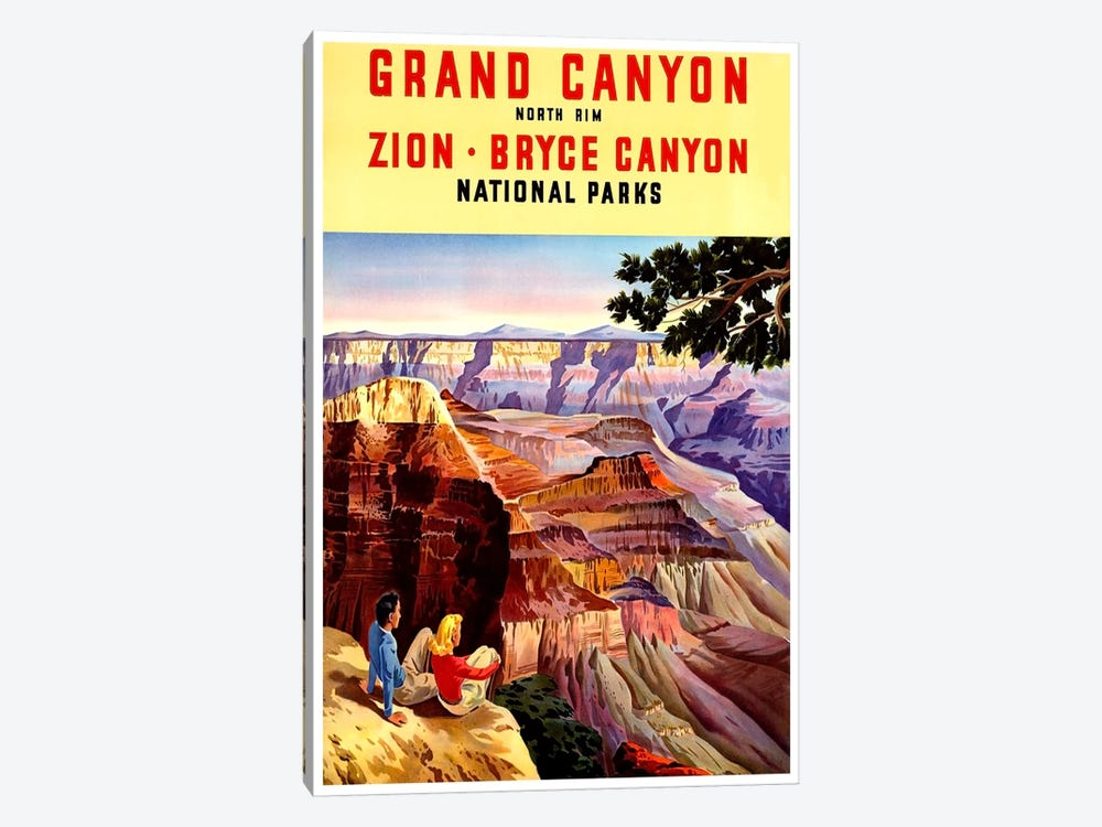 Grand Canyon, Zion, And Bryce Canyon National Parks by Unknown Artist 1-piece Canvas Print